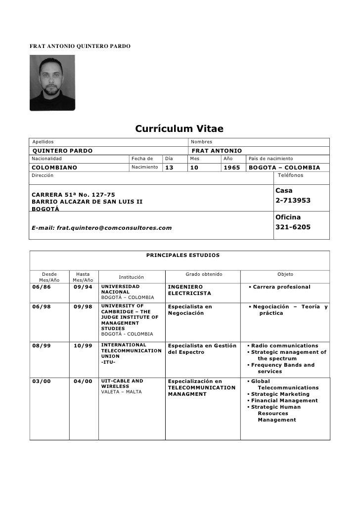 FRAT ANTONIO QUINTERO PARDO                                          Currículum Vitae Apellidos                           ...