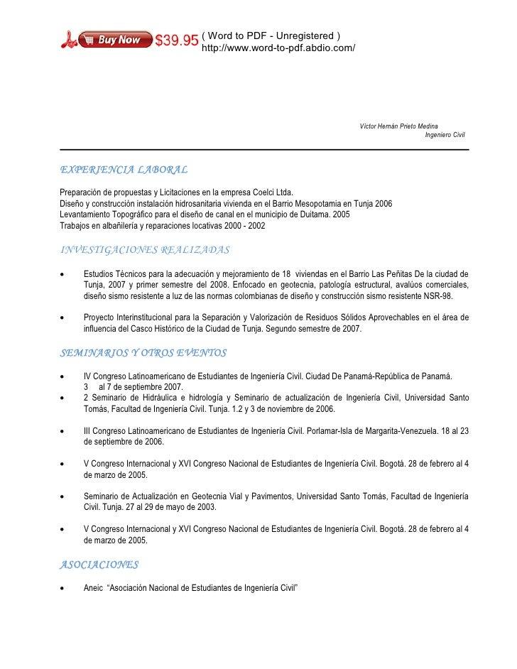 Perfecto Currículum De Muestra Para Estudiantes De Ingeniería Civil ...