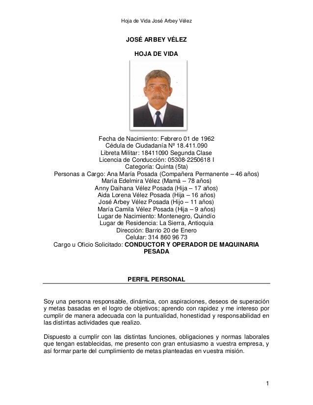 Hoja de Vida José Arbey Vélez  JOSÉ ARBEY VÉLEZ HOJA DE VIDA  Fecha de Nacimiento: Febrero 01 de 1962 Cédula de Ciudadanía...