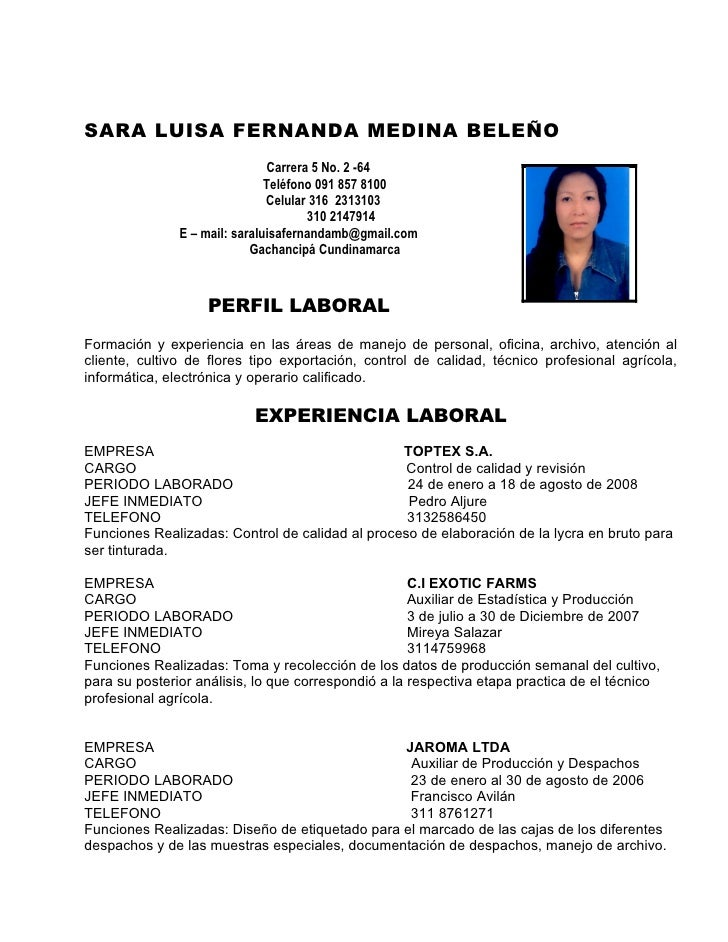 SARA LUISA FERNANDA MEDINA BELEÑO                                Carrera 5 No. 2 -64                               Teléfon...