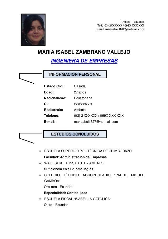 Ambato – Ecuador                                        Telf. (03) 2XXXXXX / 099X XXX XXX                                 ...