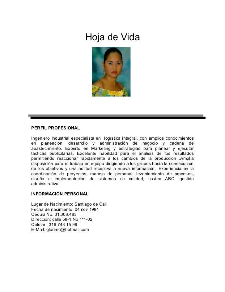 Hoja de VidaPERFIL PROFESIONALIngeniero Industrial especialista en logística integral, con amplios conocimientosen planeac...