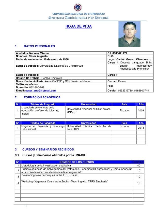 UNIVERSIDAD NACIONAL DE CHIMBORAZO Secretaría Administrativa y de Personal 1 HOJA DE VIDA 1. DATOS PERSONALES Apellidos: N...