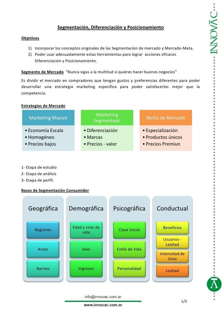 Segmentación, Diferenciación y PosicionamientoObjetivos   1) Incorporar los conceptos originales de las Segmentación de me...