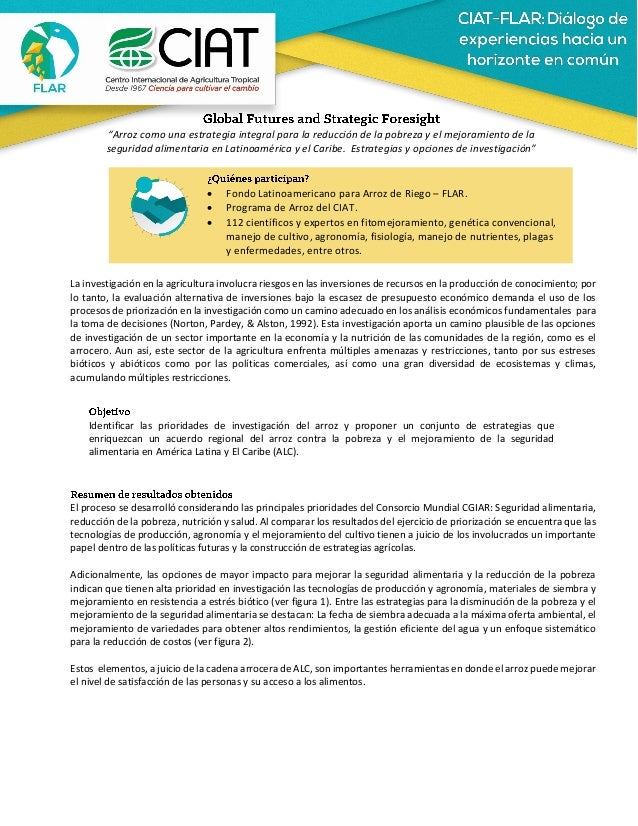 """""""Arroz como una estrategia integral para la reducción de la pobreza y el mejoramiento de la seguridad alimentaria en Latin..."""