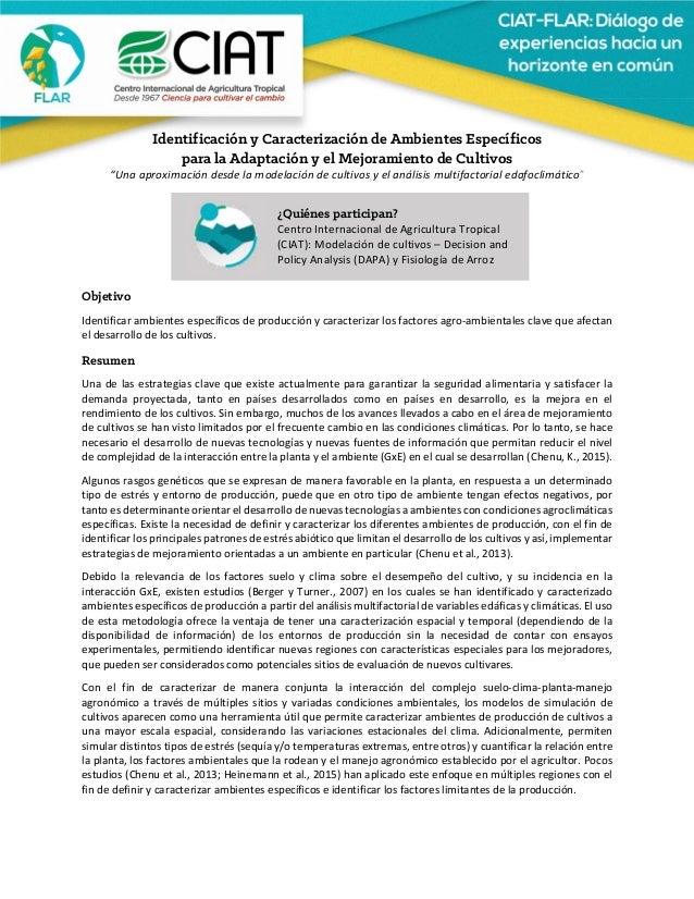 """Identificación y Caracterización de Ambientes Específicos para la Adaptación y el Mejoramiento de Cultivos """"Unaapr..."""