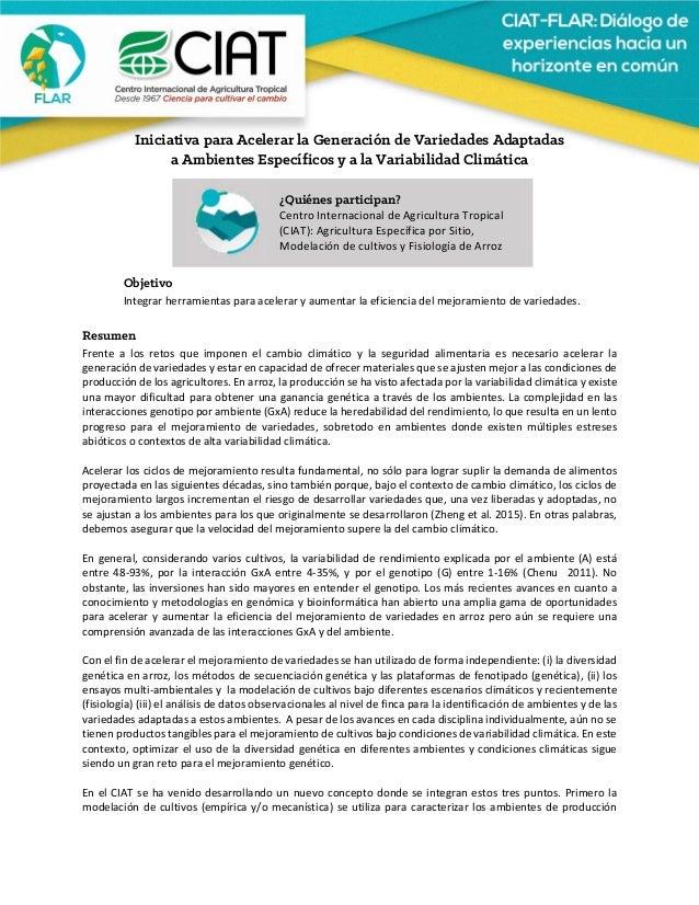 Iniciativa para Acelerar la Generación de Variedades Adaptadas a Ambientes Específicos y a la Variabilidad Climátic...