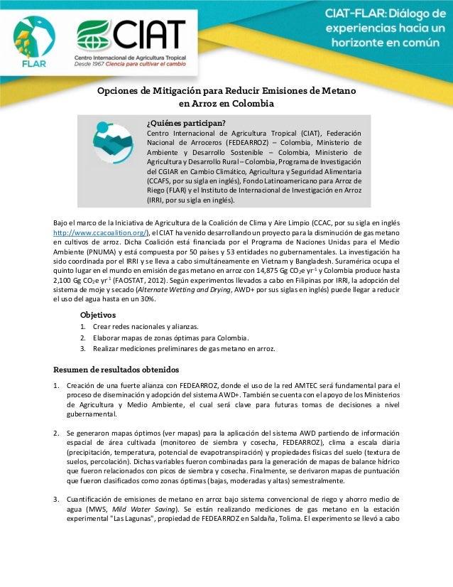 Opciones de Mitigación para Reducir Emisiones de Metano en Arroz en Colombia       BajoelmarcodelaInicia...