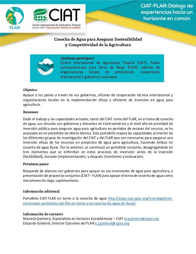 Cosecha de Agua para Asegurar Sostenibilidad y Competitividad de la Agricultura    Objetivo Apoyaralospaíses...