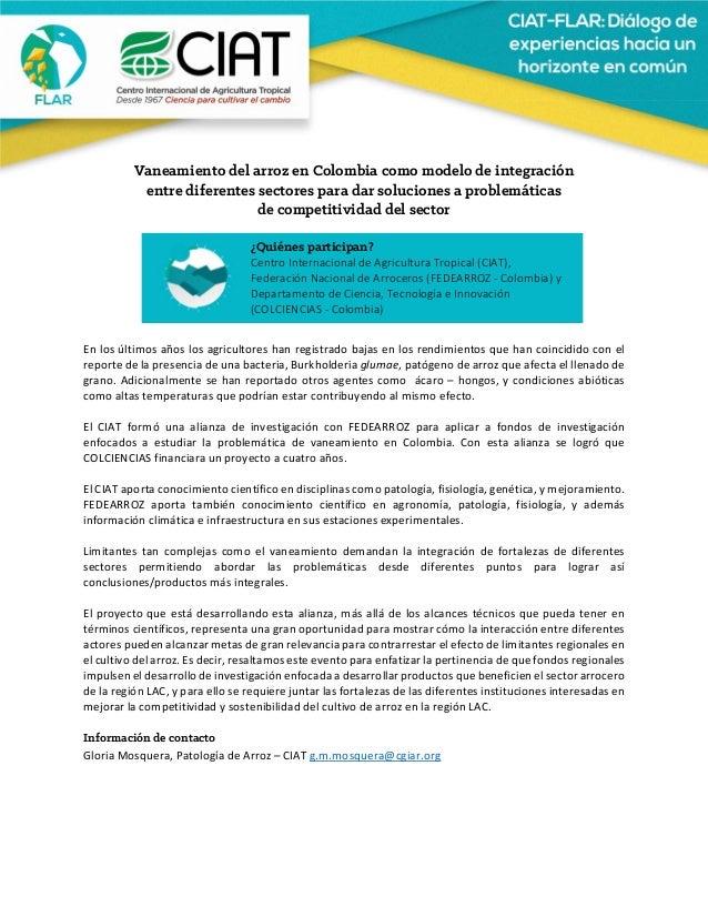 Vaneamiento del arroz en Colombia como modelo de integración entre diferentes sectores para dar soluciones a proble...