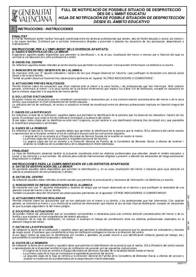 DIN-A4CJAAPP-IAC 26/01/11 FULL DE NOTIFICACIÓ DE POSSIBLE SITUACIÓ DE DESPROTECCIÓ DES DE L'ÀMBIT EDUCATIU HOJA DE NOTIFIC...