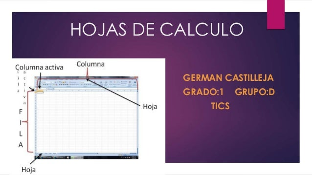 HOJAS DE CALCULO  GERMAN CASTILLEJA  GRADO:1 GRUPO:D  TICS