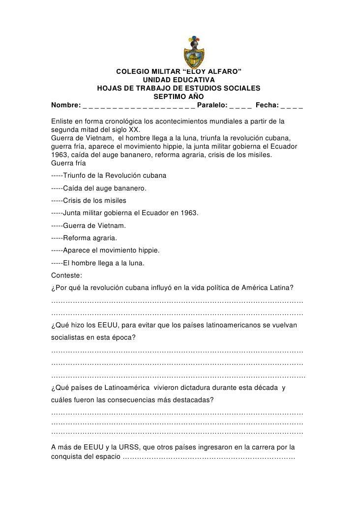 """COLEGIO MILITAR """"ELOY ALFARO""""                            UNIDAD EDUCATIVA             HOJAS DE TRABAJO DE ESTUDIOS SOCIALE..."""