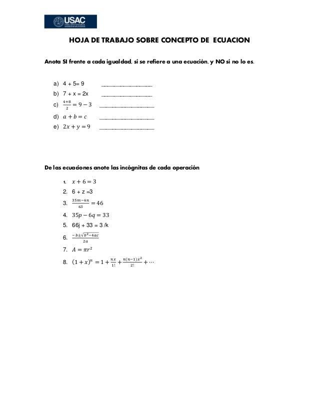Hojas de trabajo sobre ecuaciones lineales de primer grado
