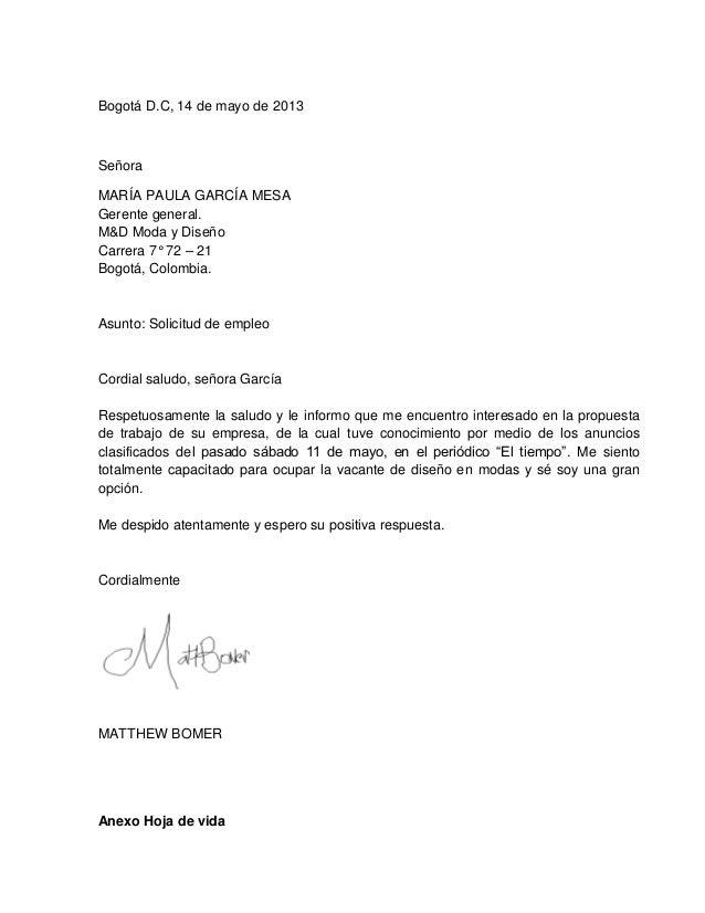 HOJAS DE VIDA Y CARTAS PRESENTACIÓN