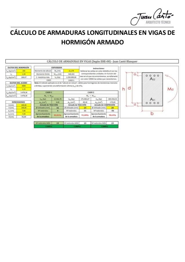 CÁLCULO DE ARMADURAS LONGITUDINALES EN VIGAS DE HORMIGÓN ARMADO