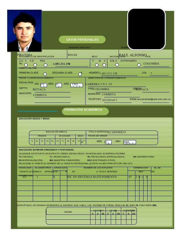 PIRATOBA ROJAS RAUL ALFONSO 1.051.211.158 COLOMBIA 1.051.211.158 7 3 0 03 1992 CARRERA 5 N 3 -55 BOYACA COMBITA COLOMBIA B...