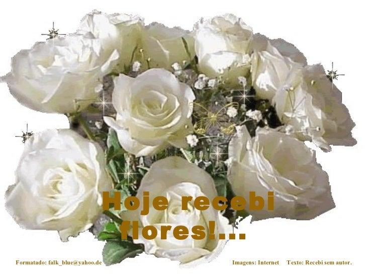 Hoje recebi flores!...   Formatado: falk_blue@yahoo.de Imagens: Internet  Texto: Recebi sem autor.