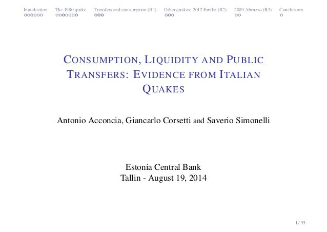 Introduction The 1980 quake Transfers and consumption (R1) Other quakes: 2012 Emilia (R2) 2009 Abruzzo (R3) Conclusions  C...