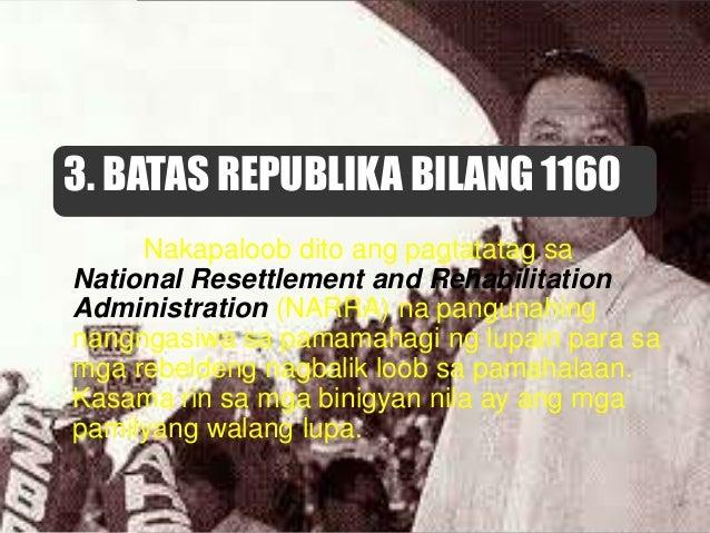 6. ATAS NG PANGULO BLG. 2 NG 1972 Itinadhana ng kautusan na isailalim sa reporma sa lupa ang buong Pilipinas noong panahon...