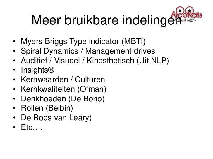 Meer bruikbare indelingen•   Myers Briggs Type indicator (MBTI)•   Spiral Dynamics / Management drives•   Auditief / Visue...