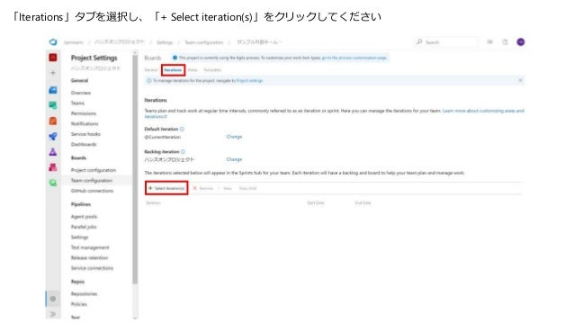 「Iterations」タブを選択し、「+ Select iteration(s)」をクリックしてください