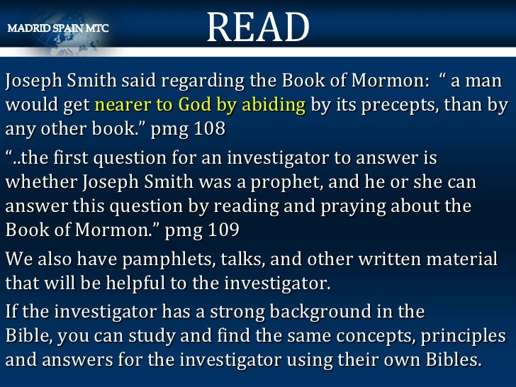 """READJoseph Smith said regarding the Book of Mormon: """" a manwould get nearer to God by abiding by its precepts, than byany ..."""