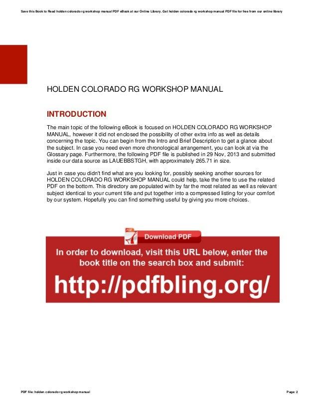 holden colorado rg workshop manual rh slideshare net Parts Manual rg colorado workshop manual pdf