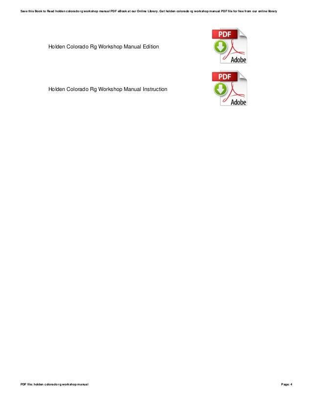 holden colorado rg workshop manual rh slideshare net Service Manuals 2012 rg colorado workshop manual