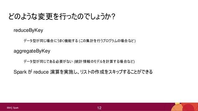 12 12IBM Spark 12 どのような変更を行ったのでしょうか? reduceByKey データ型が同じ場合にうまく機能する (この集計を行うプログラムの場合など) aggregateByKey データ型が同じである必要がない (統計情...