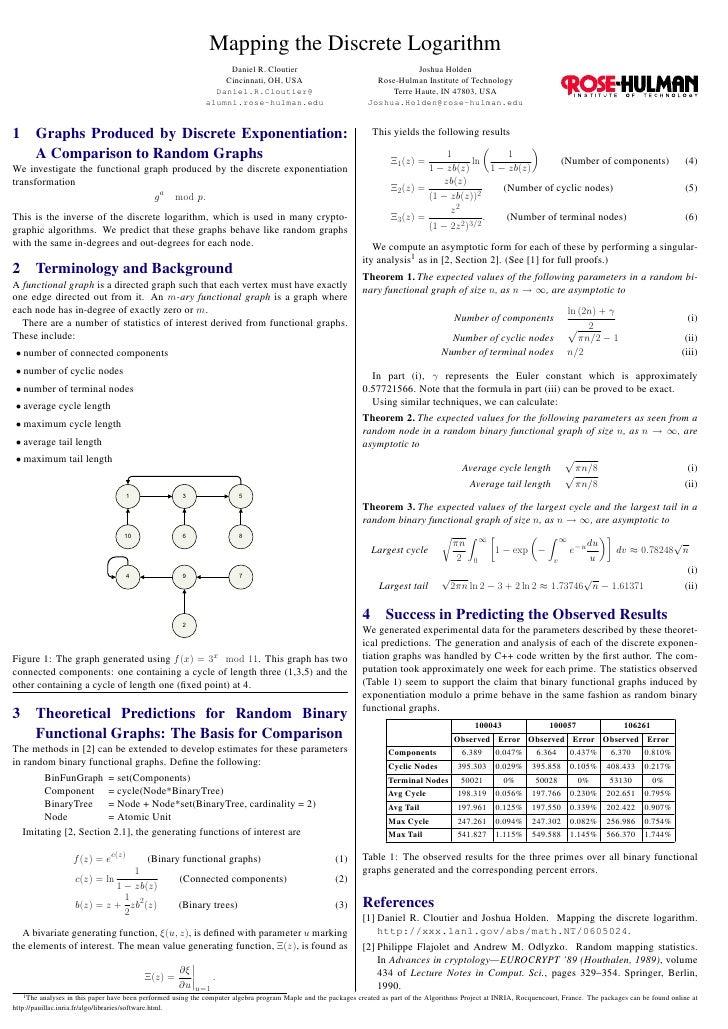 Mapping the Discrete Logarithm                                                                  Daniel R. Cloutier        ...