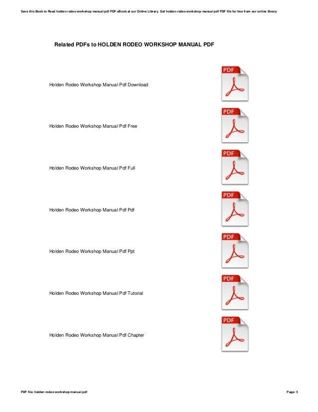 Holden rodeo workshop manual pdf