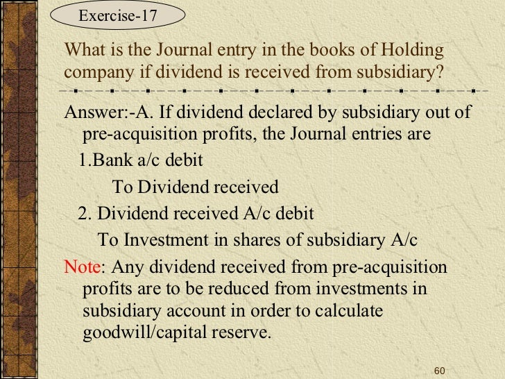 Pre acquisition reserves consolidating debt