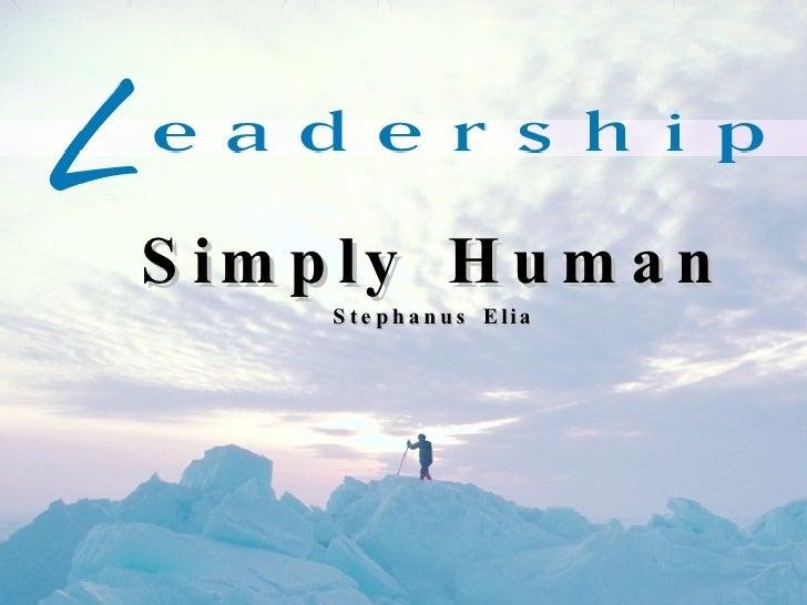 Simply Human Stephanus Elia