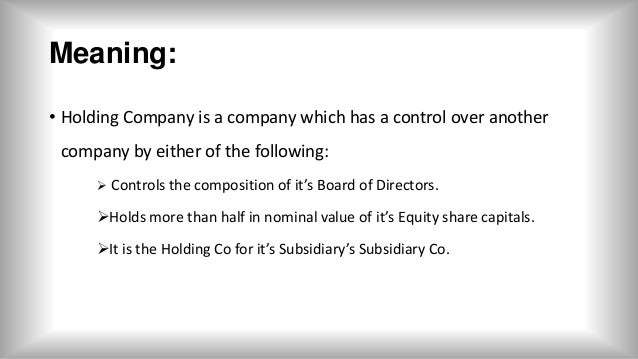 definition of holding and subsidiary company