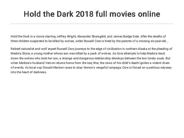 Hold the Dark 2018 full movies online