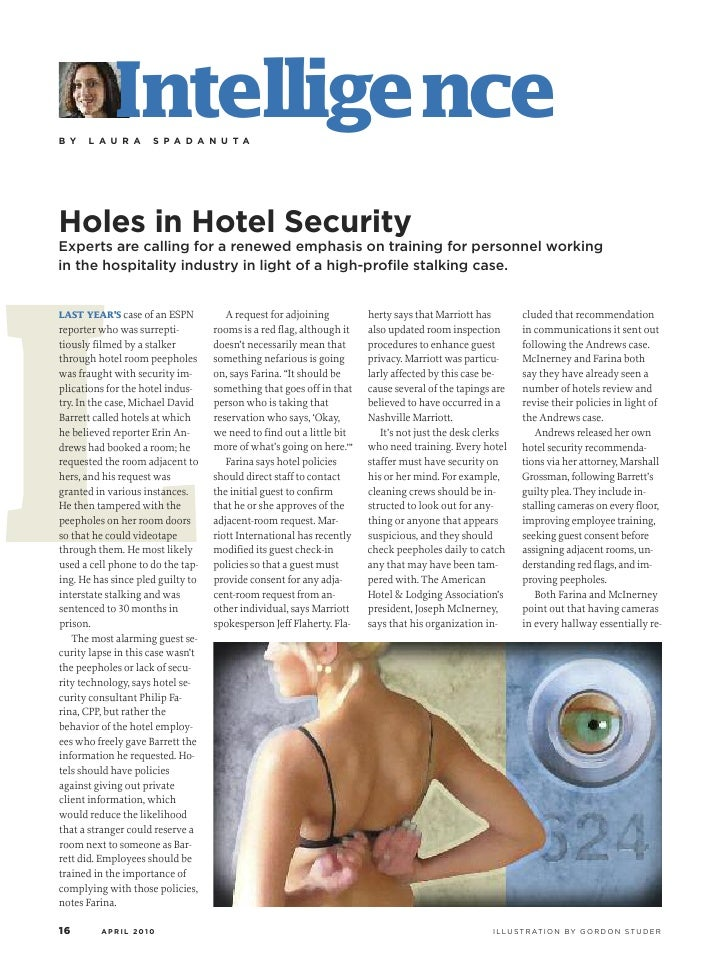 B Y             Intelligence       L A U R A      S P A D A N U T A     Holes in Hotel Security     L Experts are calling ...