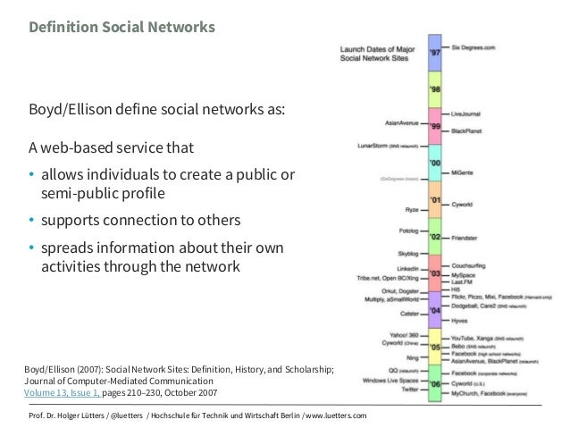 an analysis of boyd ellison Descrizione secondo la definizione data dalle studiose danah m boyd e nicole b ellison, si possono definire siti di reti sociali (social network sites) i.