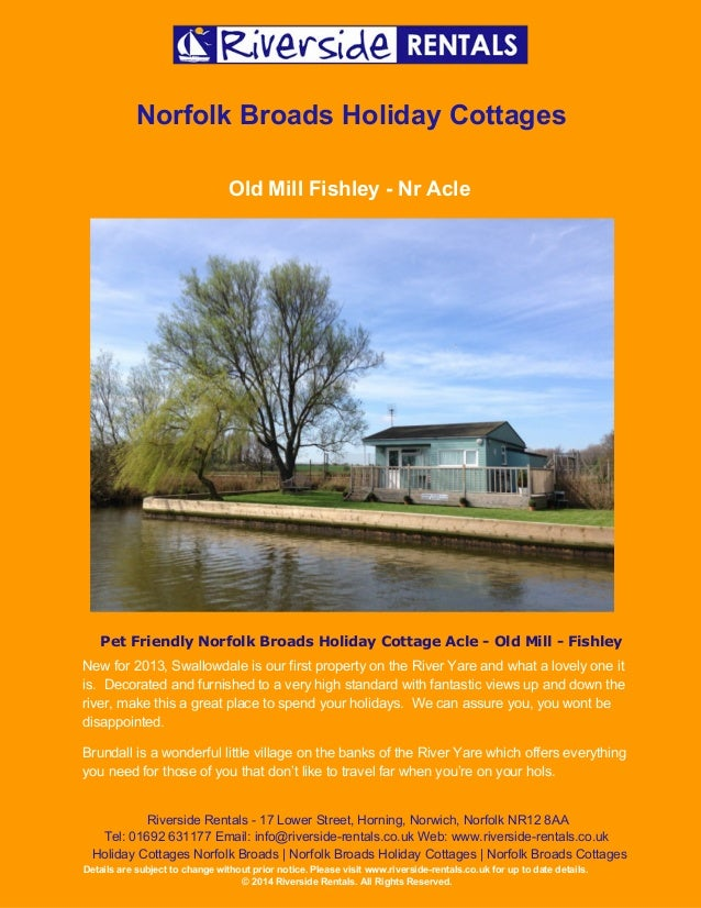 Holiday Cottage Norfolk Broads Old Mill Fishley