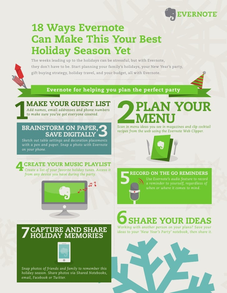 18 Ways Evernote     Can Make This Your Best     Holiday Season Yet     The weeks leading up to the holidays can be stress...