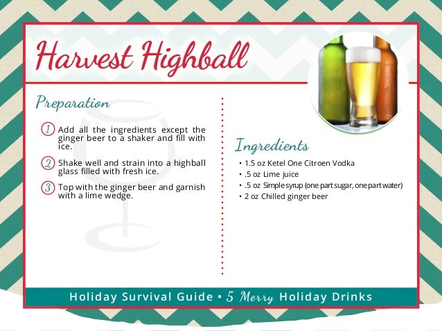 Harvest Highball Preparation 1  Add all the ingredients except the ginger beer to a shaker and fill with ice.  2  Shake we...