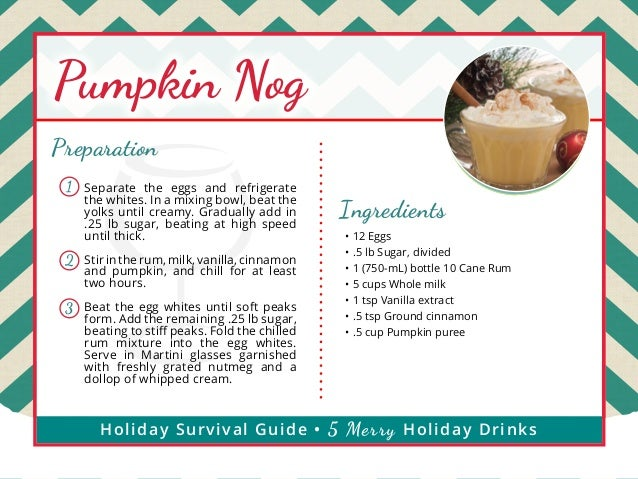 Pumpkin Nog Preparation 1  Separate the eggs and refrigerate the whites. In a mixing bowl, beat the yolks until creamy. Gr...