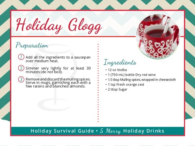 Holiday Glogg Preparation 1  Add all the ingredients to a saucepan over medium heat.  2  Simmer very lightly for at least ...
