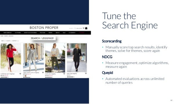 12 Scorecarding • Manually score top search results, identify themes, solve for themes, score again NDCG • Measure engagem...