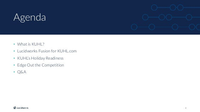 3 Agenda • What is KUHL? • Lucidworks Fusion for KUHL.com • KUHL's Holiday Readiness • Edge Out the Competition • Q&A