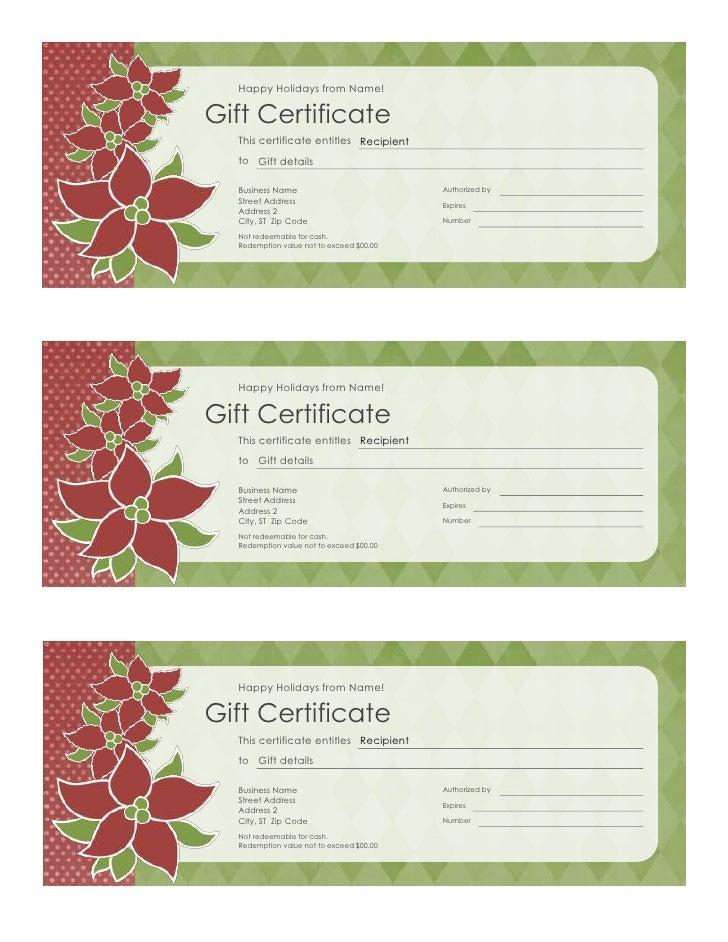 Sample Gift Voucher Holiday Gift Certificate Poinsettia Design – Wording for Gift Certificates