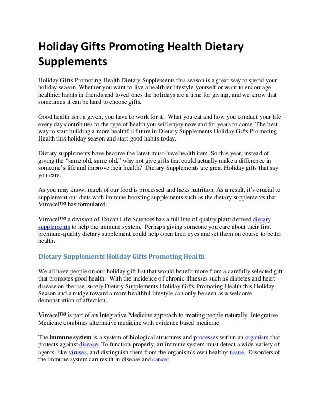 Holiday Gifts Promoting Health Dietary Supplements Holiday Gifts Promoting Health Dietary Supplements this season is a gre...