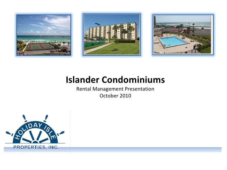 Islander Condominiums Rental Management Presentation October 2010