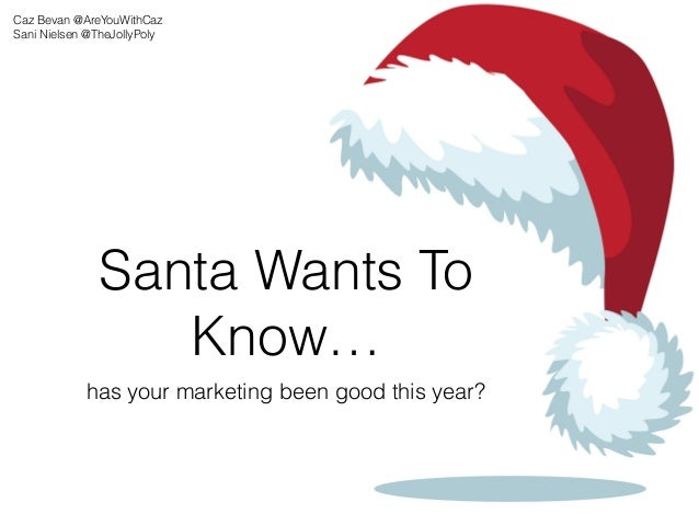 Santa Wants To Know… has your marketing been good this year? Caz Bevan @AreYouWithCaz Sani Nielsen @TheJollyPoly