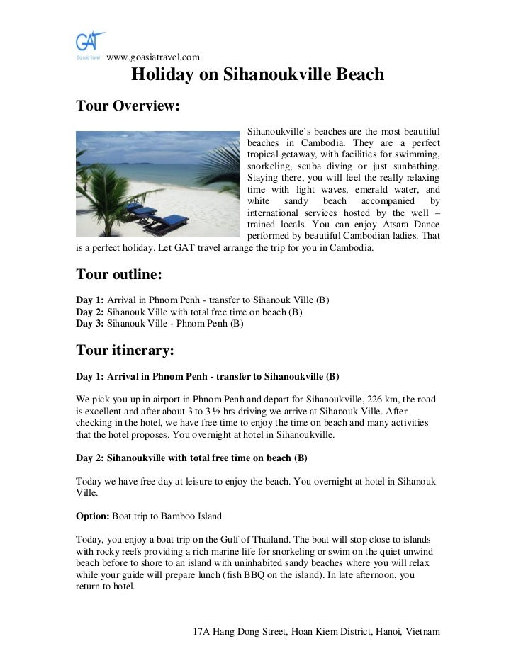 www.goasiatravel.com             Holiday on Sihanoukville BeachTour Overview:                                           Si...